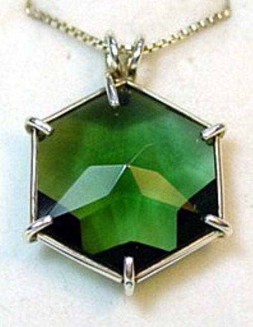 Flower of Life Vogel Pendant: Green Siberian Quartz Med